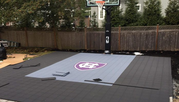 Adding sport tiles on top of pervious pavers